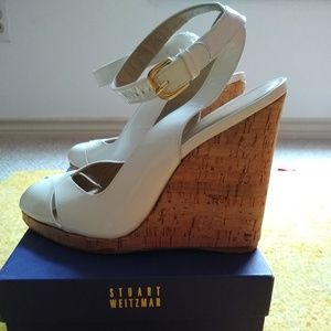 White Patent Wedge Heel Shoes